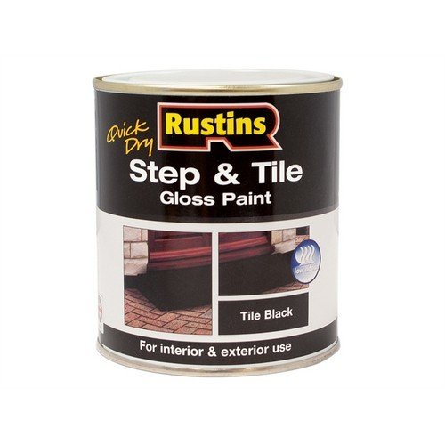 Rustins STBLW1000 Quick Dry Step & Tile Paint Black 1 Litre