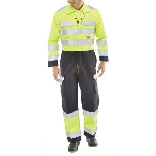 """Click CARC7SYN38 ARC Compliant Flame Retardant Two Tone Yellow / Navy Blue Coverall 38"""""""