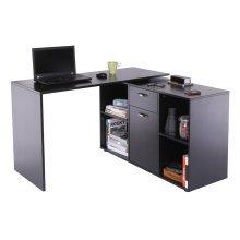 Homcom MDF Adjustable Large L-Shaped Computer Desk Workstation PC Home Office - Black