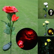 Solar Power Rose Flower Garden Stake Landscape Lamp Outdoor Yard LED Light