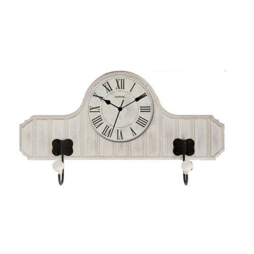 Ashton Sutton CX1430 Beadboard Wood Case and Metal Hooks Wall Clock
