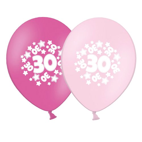 """number 30 - stars -  12""""  Pink Assortment Latex Balloons pack of 8"""