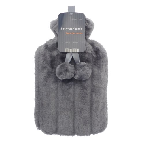 Country Club Hot Water Bottle with Grey Faux Fur Cover