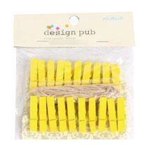 Mini Natural Wooden Clothespins Photo Paper Peg Pin Craft Clips with 2m Jute Twine, J