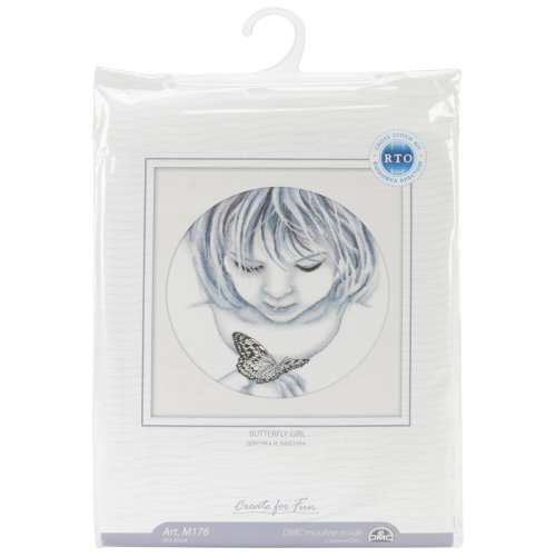 """Girl W/Butterfly Counted Cross Stitch Kit-12.5""""X12.5"""" 18 Count"""