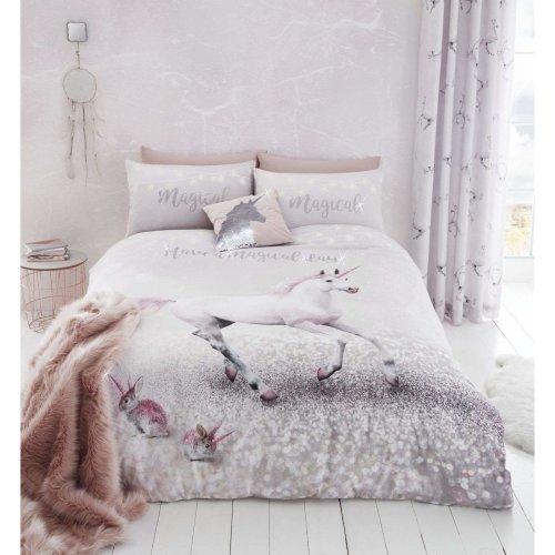 Catherine Lansfield Enchanted Unicorn Easy Care Single Duvet Set Pink