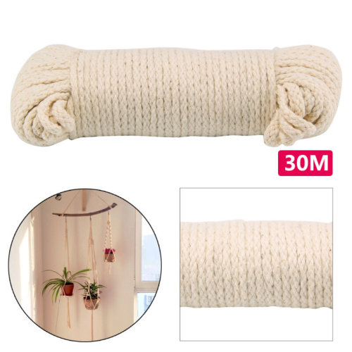 30M COTTON ROPE PULLEY CLOTHES LINE TRADITIONAL WASHING CAMPING 4MM DURABLE