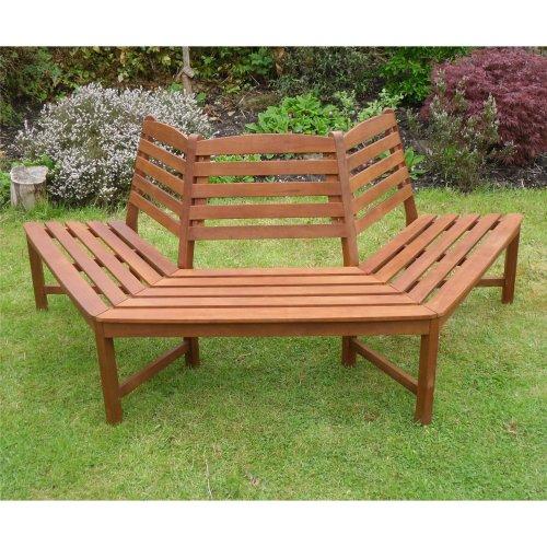 Henley 1/2 Tree Seat Hardwood Bench Wood Garden Furniture 180 Degree