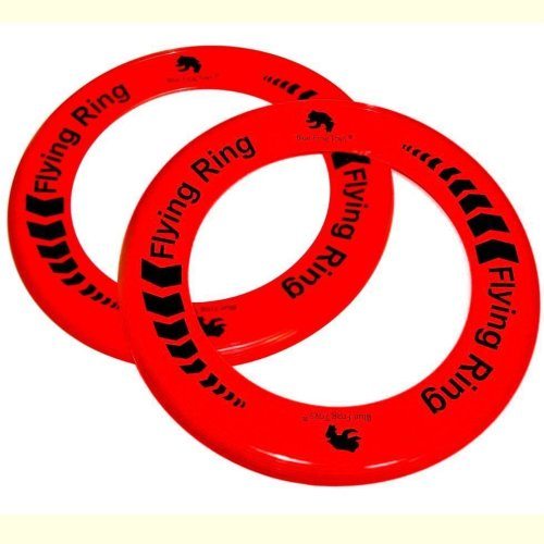 2 Red Flying Rings - Fun Outdoor Summer Toys - Frisbee Type Toys