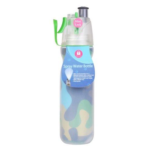 Georgie Porgy Mist Lock Spray Double Layers Women Water Bottle Men Sport Bottle Cup Travel Mug Outdoor (590ml Green camo bottle)