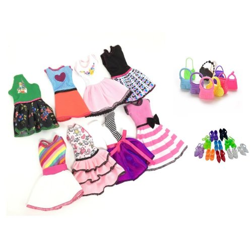 Clothes for Barbie Doll, Lance Home 8 Sets Dresses 10 Pairs of Shoes 10pcs Bags for Barbie Doll Accessories Gifts for Children, Random Style (28pcs)