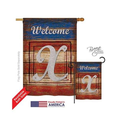 Breeze Decor 30128 Patriotic X Monogram 2-Sided Vertical Impression House Flag - 28 x 40 in.