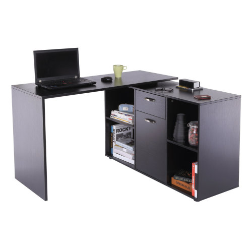 Homcom MDF Adjustable Large L-Shaped Computer Desk Workstation PC Home Office - Black
