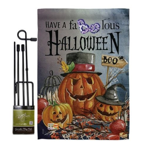 Breeze Decor BD-HO-GS-112068-IP-BO-D-US16-BD 13 x 18.5 in. Faboolous Fall Halloween Vertical Double Sided Mini Garden Flag Set with Banner Pole
