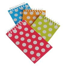 US Toy  Polka Dot Themed Mini Spiral Notebook Memo Pads, Asstd Color, (1Pack of 12)