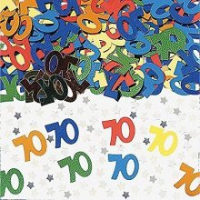 Number 70 Multi Colour Metallic Confetti 14g -