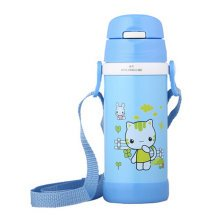 Lovely Stainless Steel Drink Bottle With Straw, Blue