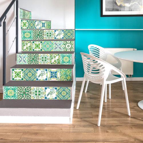 Walplus Tile Sticker Turkish Green Mosaic Wall Sticker Decal (Size: 15cm x 15cm @ 24pcs)