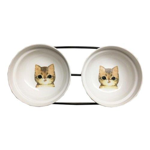 Little Double Bowls Set Ceramic Feeding Pot/Pet Bowls/Dog Bowls/Cat Bowls For Food & Water S Size(C#03)