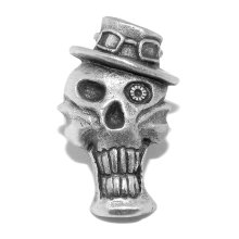 Steampunk Grinning Skull and Hat Pewter Pin Badge / Brooch