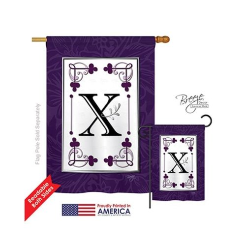 Breeze Decor 30024 Classic X Monogram 2-Sided Vertical Impression House Flag - 28 x 40 in.