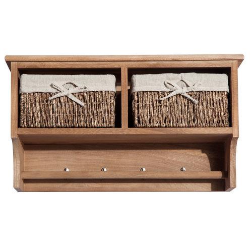 Homcom Entryway Coat Rack Wall Mounted Shelf w/ Wicker Basket (2 Baskets, Light Brown)