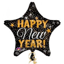 Happy New Year Gold & Silver Confetti Standard Foil Balloons - S40