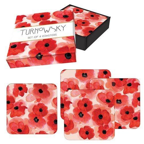 Turnowsky Set of 4 Poppy Design  Cork Backed Coasters