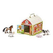 Melissa and Doug Latches Barn Playset - Wooden Toy - 4 Animals - 2564