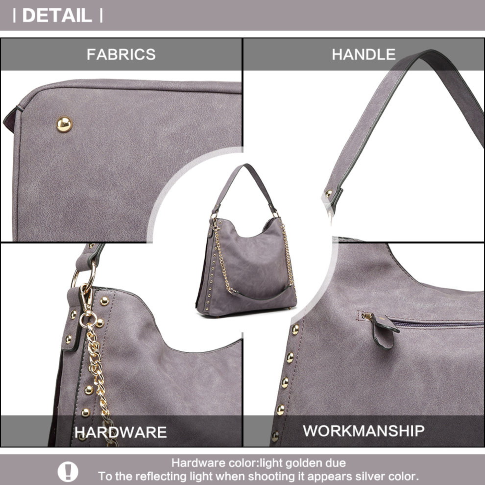 Miss Lulu Women s Studded Hobo Shoulder Tote Bag Handbag Purple on OnBuy 53c81157a0c72