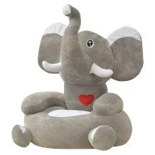 vidaXL Plush Children's Chair Elephant Grey