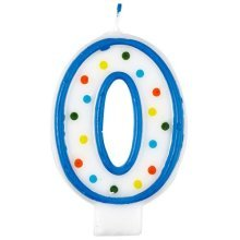 Polka Dot Birthday Candle Number 0 - 7.5cm -
