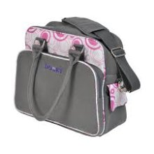Pink Circles Changing Bag With Pull & Wipe -  dooky changing bag baby nappy change mat accessories circle pinkgray polyester fabric