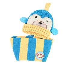 Cute Winter Baby Kids Girls Boys Hats Warm Scarf Caps Plush Ear Protect Gift Set-Blue