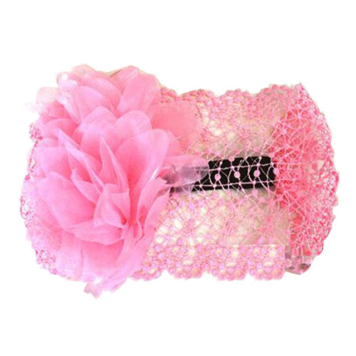 Beautiful Infant Baby Girl High Quaility Two Flowers Hair Band Headband-Pink