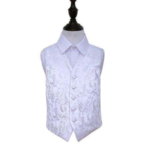 White Floral Wedding Waistcoat for Boys 26'