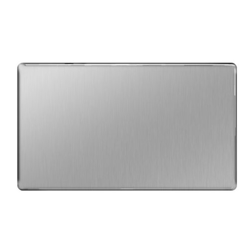 BG Flatplate Screwless 2 Gang Blank-Plate Brushed Steel