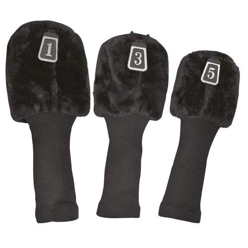 Black 3 Pack Of Longneck Wood Golf Club Covers - Deluxe Head Longridge New -  3 pack deluxe golf club head covers longridge new