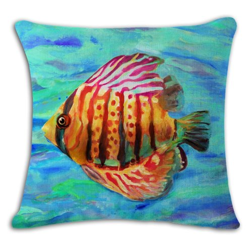 """Melyaxu Tropical Fish Throw Pillow Case Square Cotton Linen Cushion Cover for Home Sofa Bedroom Living Room Decorative 18""""X18"""" Blue Red Yellow"""