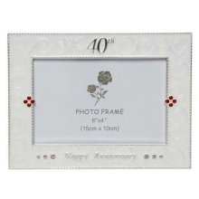 Silver and Cream 40th Anniversary Photo Frame by Shuadehill Gifts