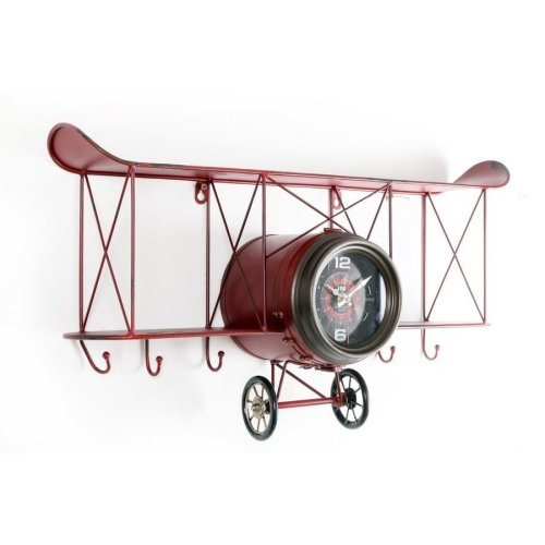 67X37Cm Vintage Metal Red Plane Shape Wall Hanging Clock With Shelf Andhooks Home Mantle Office Decoration