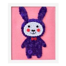 Purple Rabbit DIY Button Painting Mosaic Craft for Kids