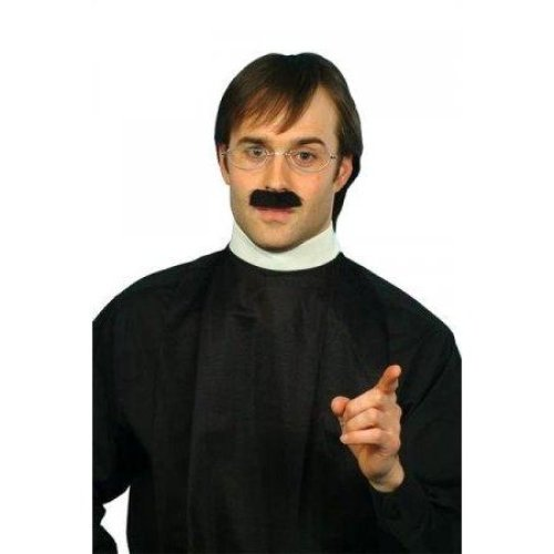 Men's Vicar Collar & Moustache Set -  dress vicar fancy set priest kit collar costume reverend religious white party