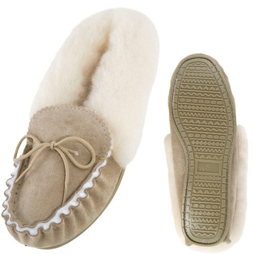 460f21f1a9ee Lambland Ladies Sheepskin Lined Fluffy Moccasin Slippers with Hard Sole on  OnBuy