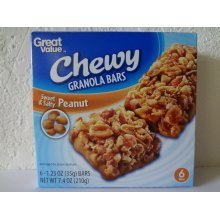 Great Value Chewy Granola Bars,Peanut 6 ct-1.23 oz (35 g)