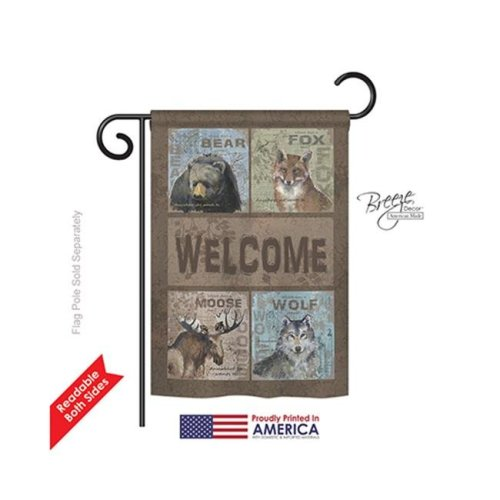 Breeze Decor 60001 Wildlife & Lodge Wilderness Welcome 2-Sided Impression Garden Flag - 13 x 18.5 in.