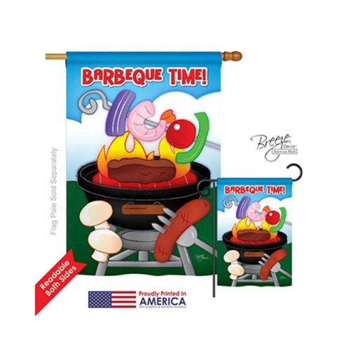 Breeze Decor 06053 Summer Barbeque Time 2-Sided Vertical Impression House Flag - 28 x 40 in.