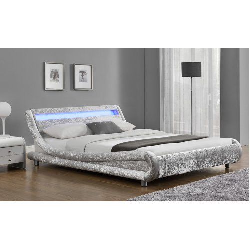 Double LED Fabric Silver Velvet Bed