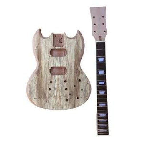 Mahogany Neck and Body, GD515 Spalted Maple Veneer Top Electric Guitar DIY Kit. BOLT ON