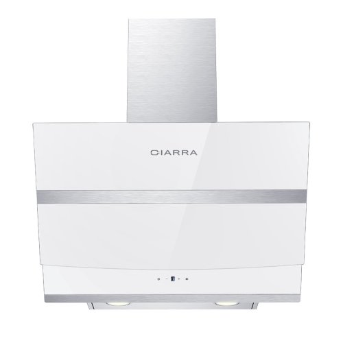 CIARRA 60cm Cooker Hood Angled White Glass Chimney Hood Kitchen Extractor Fan